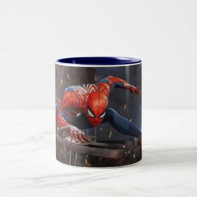 Marvel's Spider-Man   Landing on Webbed Helicopter Two-Tone Coffee Mug