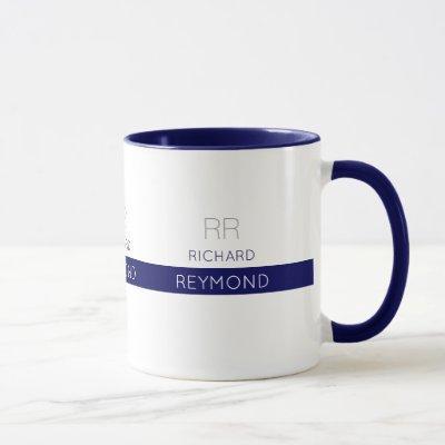 masculine elegant typography name on blue mug