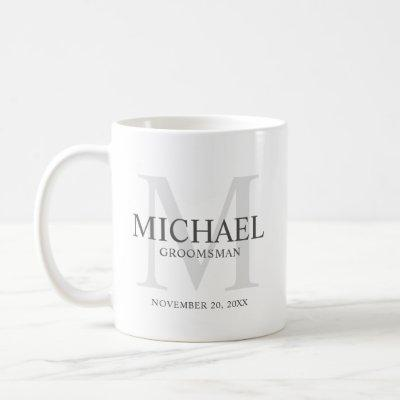 Masculine Personalized Monogram and Name Groomsmen Coffee Mug