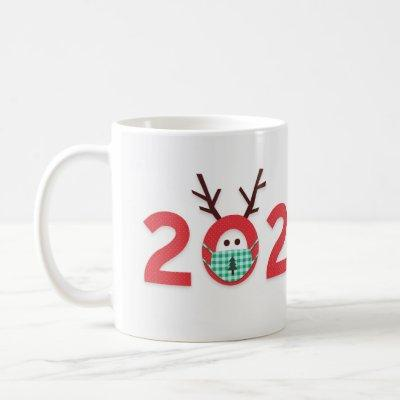 Masked Reindeer 2020 Custom Red Green Holiday Coffee Mug