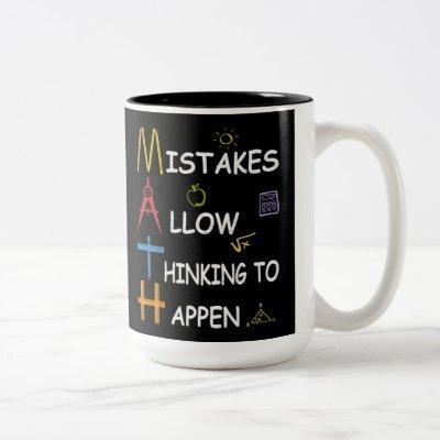Math Teacher Mistakes Allow Thinking To Happen Two-Tone Coffee Mug