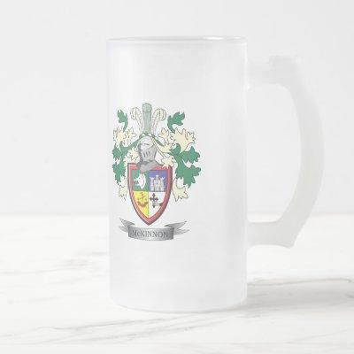 McKinnon Family Crest Coat of Arms Frosted Glass Beer Mug