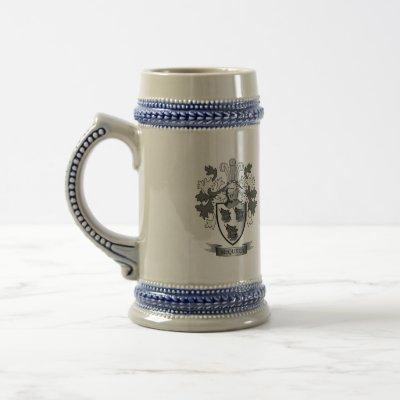 McQueen Family Crest Coat of Arms Beer Stein
