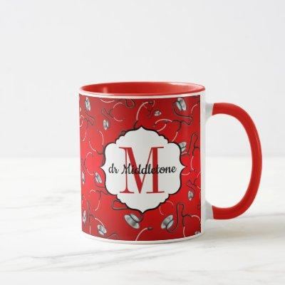 Medical stethoscopes for doctors on hot red name mug