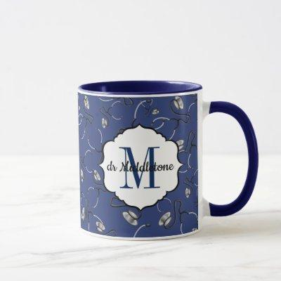 Medical stethoscopes for doctors on navy blue name mug