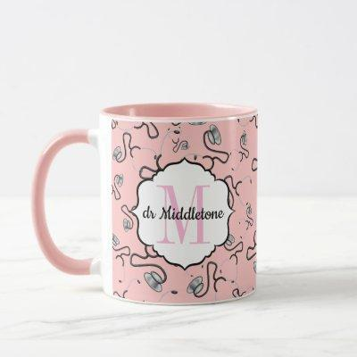 Medical stethoscopes for doctors on pink name mug