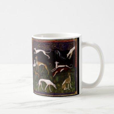 Medieval Greyhound Dogs in the Deep Woods Coffee Mug