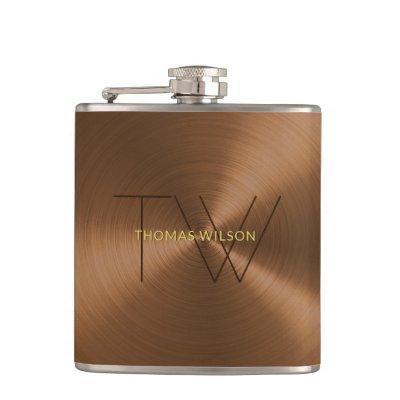 Men's Monogram Modern Minimalist Bronze Gold Metal Flask