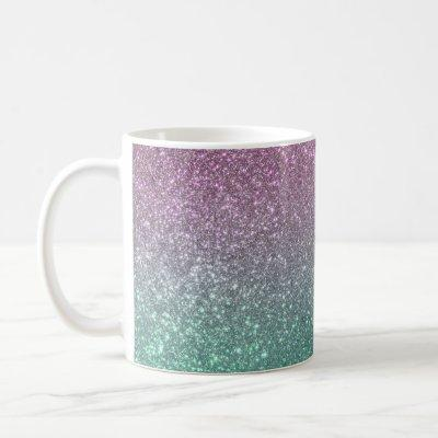 Mermaid Pink Green Sparkly Glitter Ombre Coffee Mug