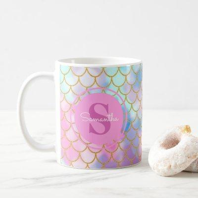 Mermaid Scales Gold Glitter Pattern Pink Monogram Coffee Mug