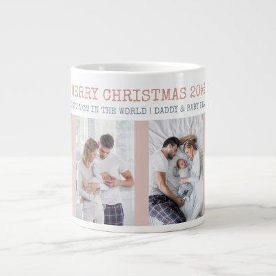 Merry Christmas Best Mom in the World 4 Photo Giant Coffee Mug