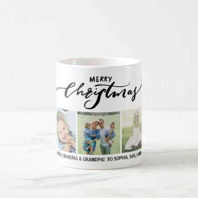 Merry Christmas Calligraphy Family Photos Custom Coffee Mug