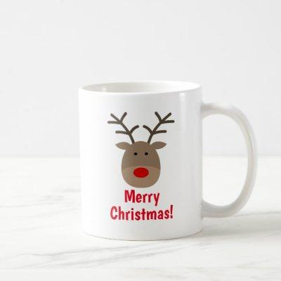 Merry Christmas coffee mug with cute reindeer