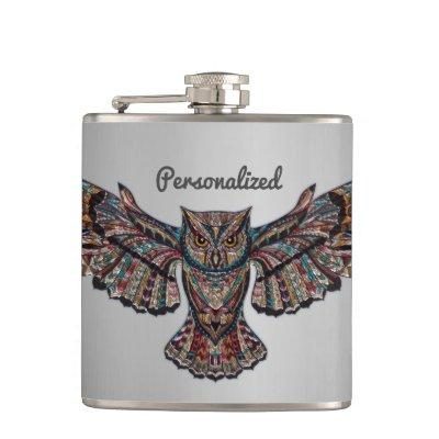 Metalized Owl Art Hip Flask