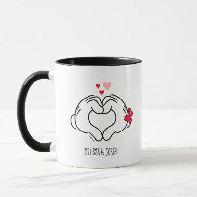 Mickey and Minnie Making Heart Sign with Hands Mug