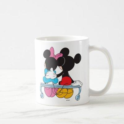 Mickey and Minnie Mouse valentine's day on bench Coffee Mug