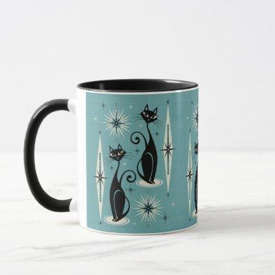 Mid Century Meow Retro Atomic Cats on Blue Mug