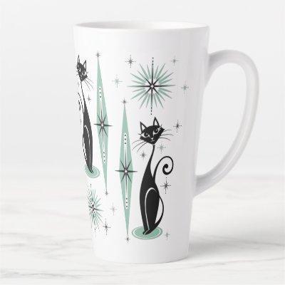 Mid Century Meow Retro Atomic Cats ©studioxtine Latte Mug