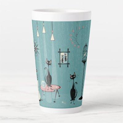 Mid Century Mischief / Cat Red-Handed II B Latte Mug