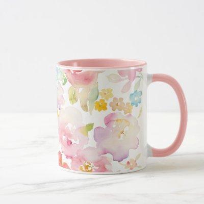 Midsummer | Watercolor Pink Floral Mug