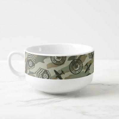 Military badges soup mug