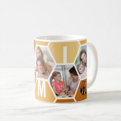 Mimi 5 Photo Editable 4 Letter Bee and Honeycomb Coffee Mug