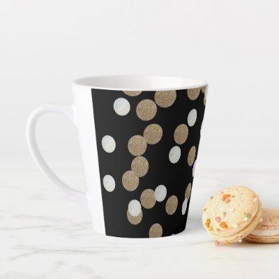 minimalist glitter black champagne gold confetti latte mug