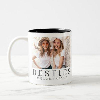 Minimalist Modern Chic Best Friends BFF Photo Two-Tone Coffee Mug