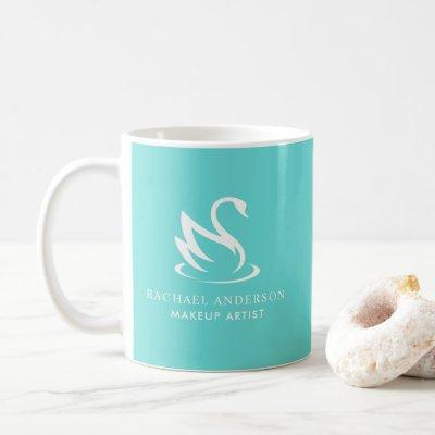 Minimalist Swan Silhouette on Robin Egg Blue Coffee Mug