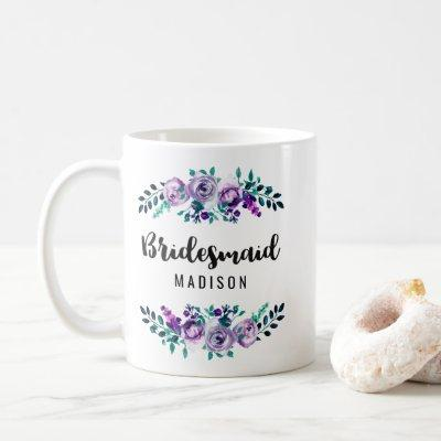 Mint & Purple Floral Wreath Wedding Bridesmaid Coffee Mug