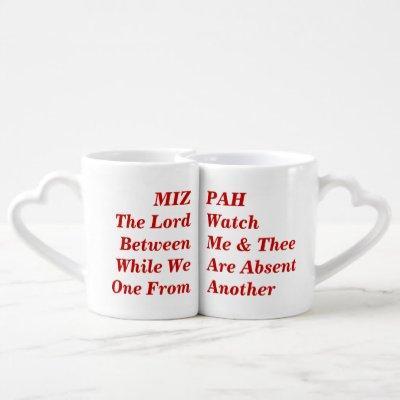 Mizpah biblical text quotation coffee mug set