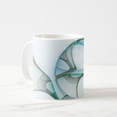 Modern Abstract Fractal Art Blue Turquoise Gray Coffee Mug