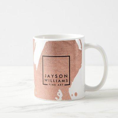 Modern Artist Abstract Faux Rose Gold Brushstrokes Coffee Mug