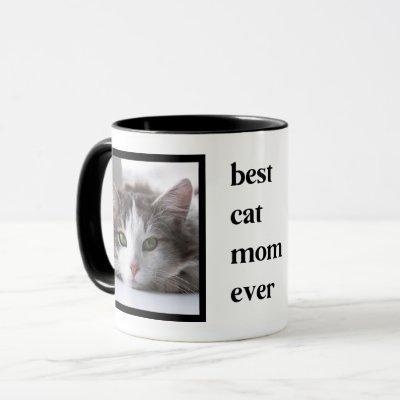Modern Best Cat Mom Ever Quote 2 Photo Mug