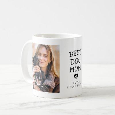 "Modern ""Best Dog Mom"" Paw In Heart 2-Photo Coffee Mug"