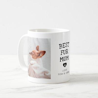 "Modern ""Best Fur Mum"" Paw In Heart 2-Photo Coffee Mug"