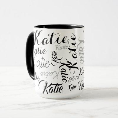 modern black white handwritten names mug
