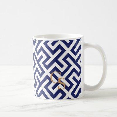 Modern blue abstract geometric patterns monogram coffee mug
