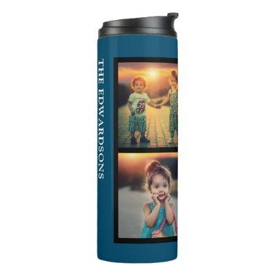 Modern blue family 4 photo collage family name thermal tumbler