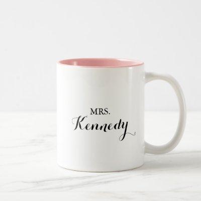 Modern Calligraphy Mrs Newlywed Bride Two-Tone Coffee Mug