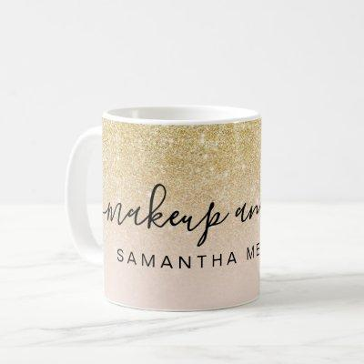 Modern chic gold glitter blush ombre makeup name coffee mug