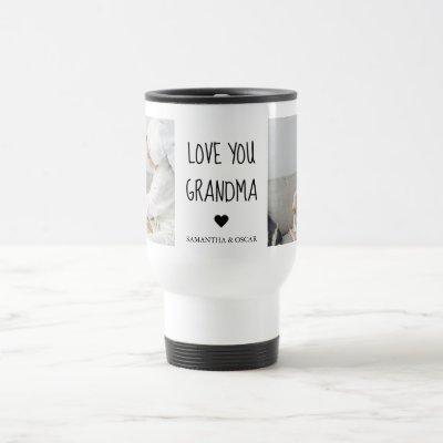 Modern Collage Photo Love You Grandma Best Gift Travel Mug