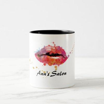 Modern Colorful Lips Makeup Beauty Hair Salon Two-Tone Coffee Mug