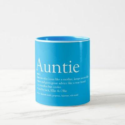 Modern Cool Best Ever Aunt Auntie Definition Two-Tone Coffee Mug