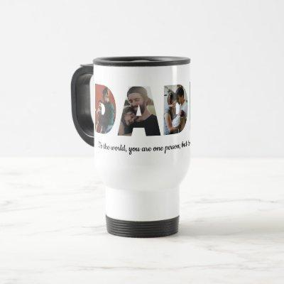 Modern DADDY 5 Photo Collage Quote Father's Day Travel Mug