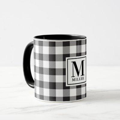 Modern Farmhouse Black Buffalo Check Monogrammed Mug