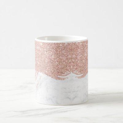 Modern faux glitter rose gold brushstrokes marble coffee mug