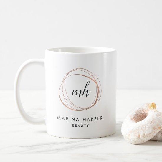 Modern Faux Rose Gold Abstract Logo Coffee Mug