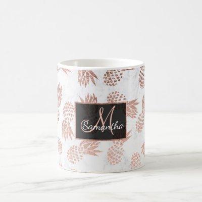 Modern faux rose gold pineapples white marble coffee mug