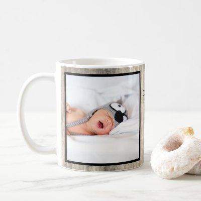Modern First Mother's Day Grandma Wood Photo Coffee Mug